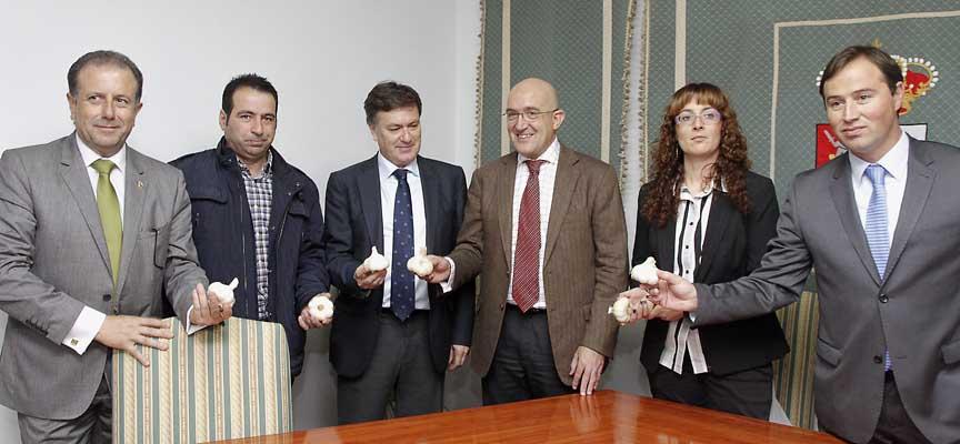 Imagen tras la firma del convenio ente la Asociación de promoción del ajo de Vallelado y las diputaciones de Segovia y Valladolid en noviembre de 2013.