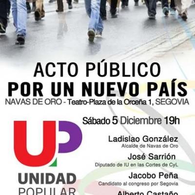 Unidad Popular abre la campaña mañana en Navas de Oro con la presencia de José Sarrión