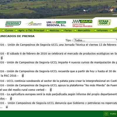 Unión de Campesinos de Segovia-UCCL celebrará una Jornada Técnica el viernes en Nava de la Asunción