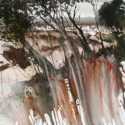 El peguero Raúl Sánchez ganador del primer premio del II Concurso de Pintura Rápida de Macotera en Salamanca