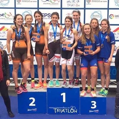 El Triatlón Cuéllar, campeón de España cadete femenino en Cerdanyola