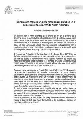 Comunicado Oficial publicado por la Subdelegación de Gobierno en Valladolid.