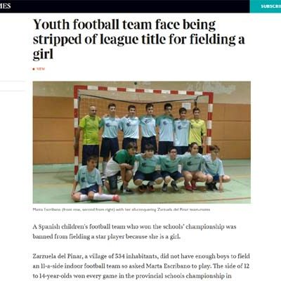 El periódico inglés `The Times´ se hace eco de lo sucedido al equipo de Zarzuela del Pinar en los Juegos Escolares regionales