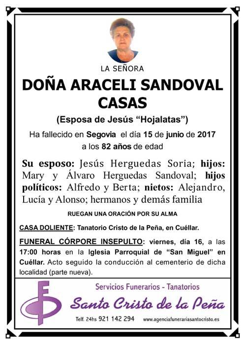 Esquela de Araceli Sandoval Casas