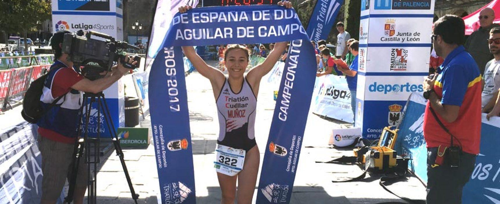 La cuellarana Marina Muñoz se proclama campeona de España de Duatlón y Triatlón Cross