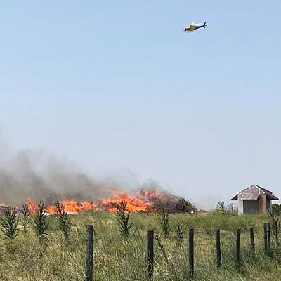 Un incendio calcina restos de poda en la antigua escombrera de Las Lomas