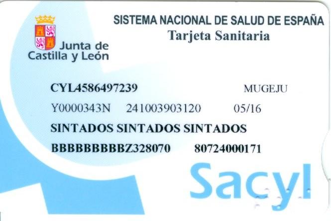 Anverso de la nueva tarjeta sanitaria que Sacyl irá introduciendo paulatinamente entre los usuarios.