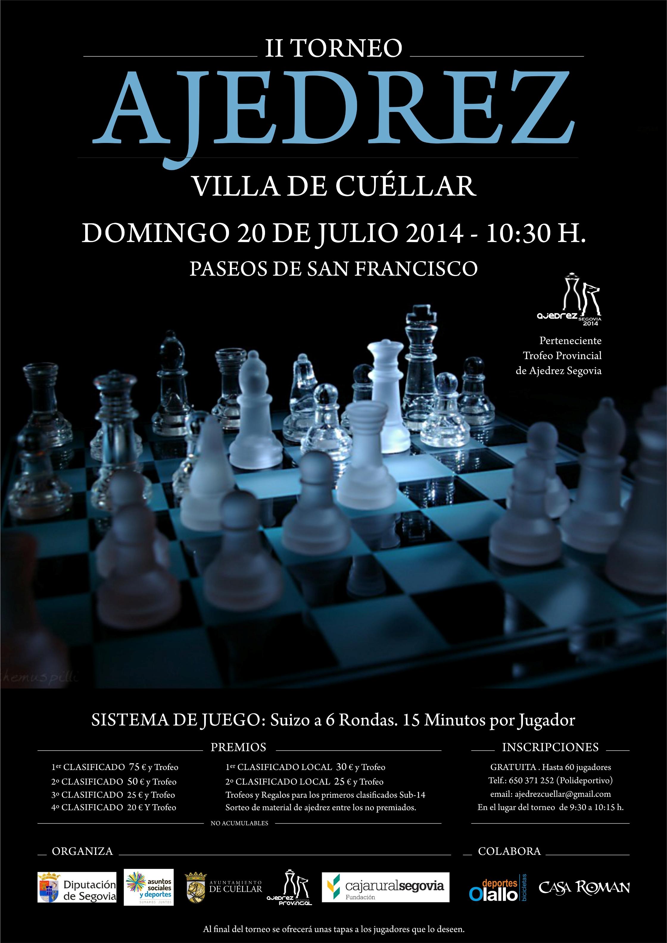 Cartel del II Torneo de Ajedrez Villa de Cuéllar.