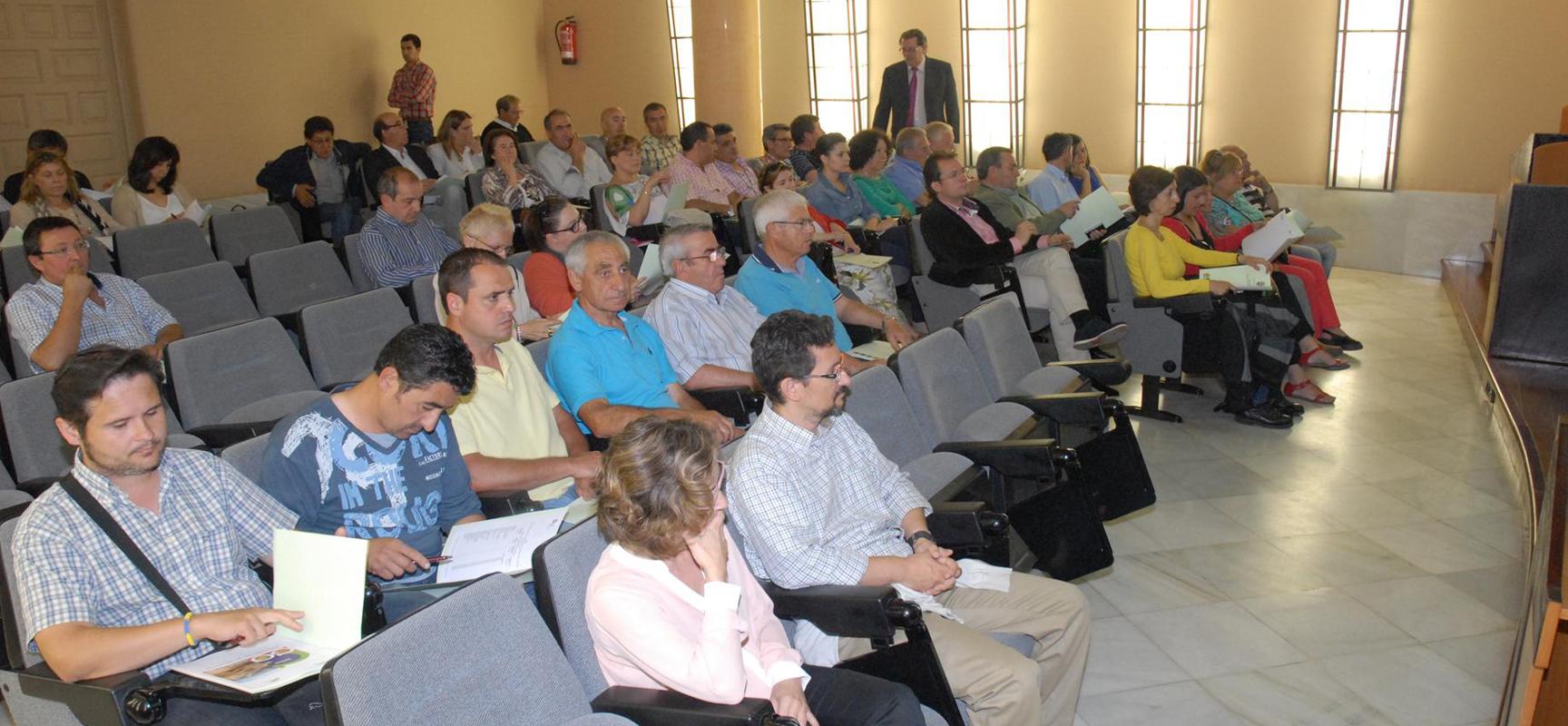 Alcaldes asistentes a la presentación del Plan de Empleo en la Diputación.