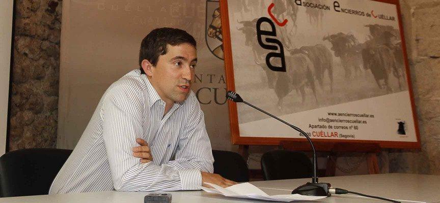 Jesús Salamanca, Presidente de Encierros de Cuéllar, durante el acto.