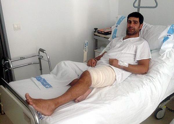 Eduardo Sanz, en el Hospital de Segovia donde se recupera.