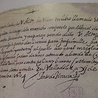 """El cuellarano Antonio de Herrera dio licencia para que """"El Quijote"""" fuera impreso"""