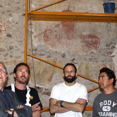 Visita a las obras de consolidación de las pinturas murales de la iglesia de la Asunción de Pinarejos