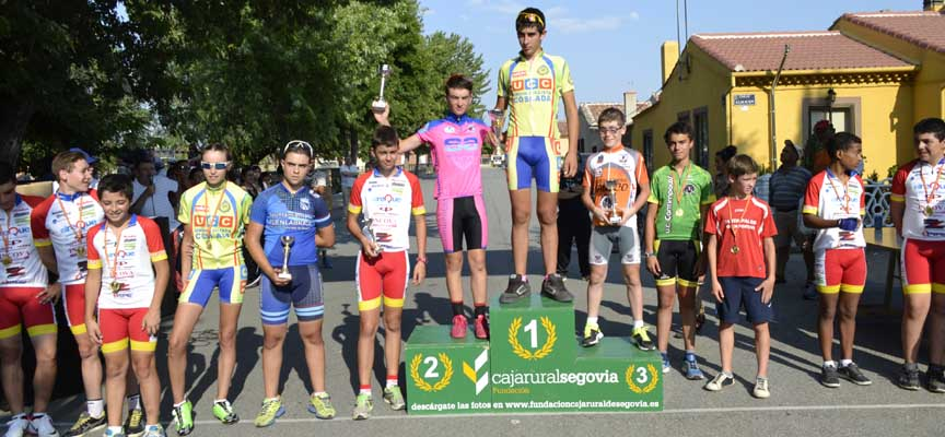 Pódium de una edición anterior de la prueba ciclista