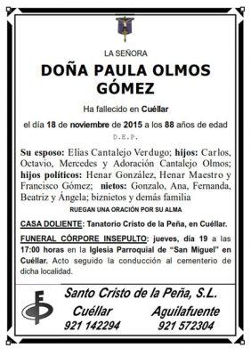 Esquela de Paula Olmos Gómez