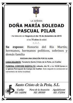 Esquela de María Soledad Pascual Pilar