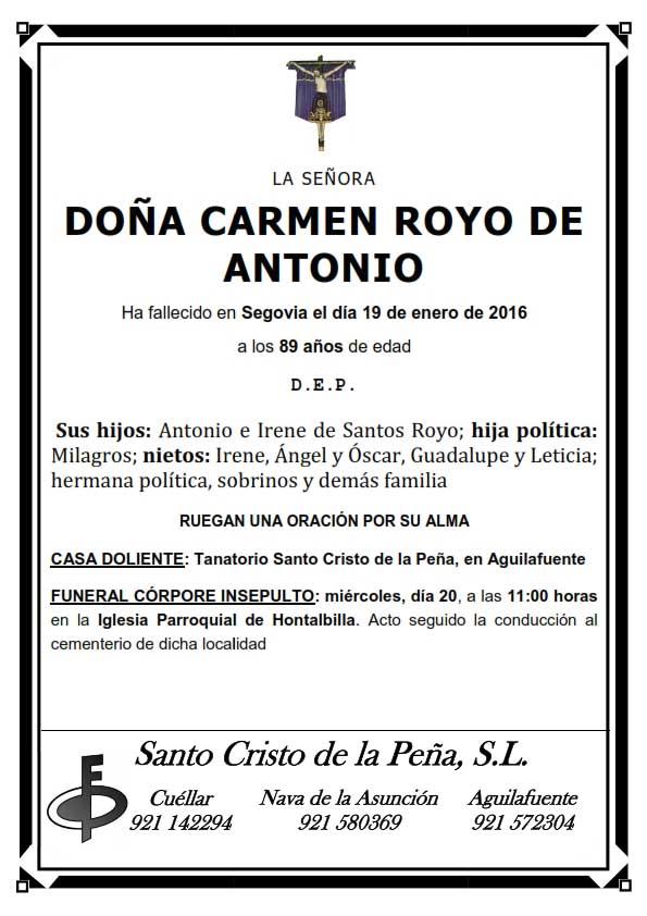 Esquela de Carmen Royo de Antonio
