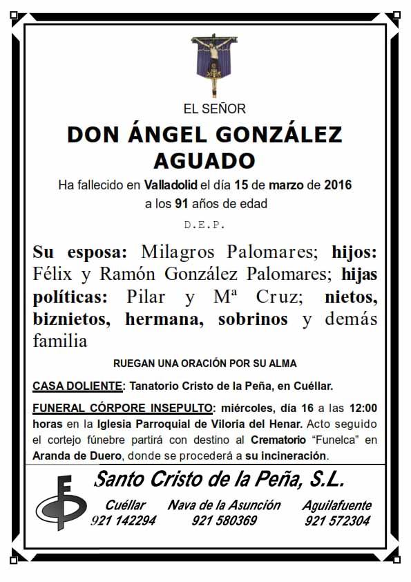 Esquela de Ángel González Aguado