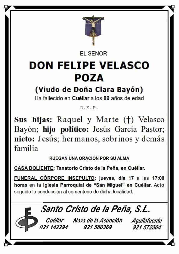 Esquela de Felipe Velasco Poza