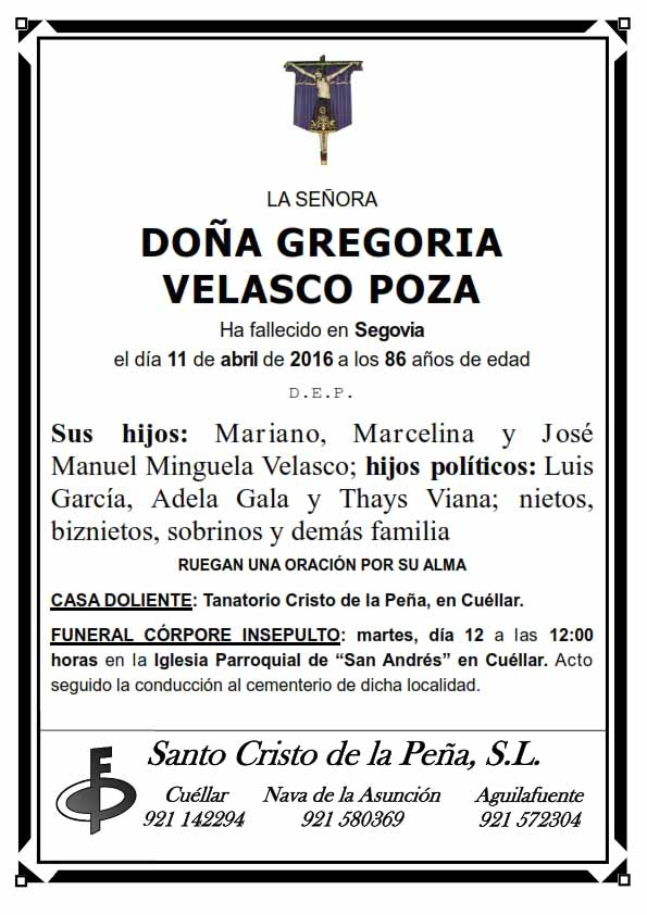 Esquela de Gregoria Velasco Poza