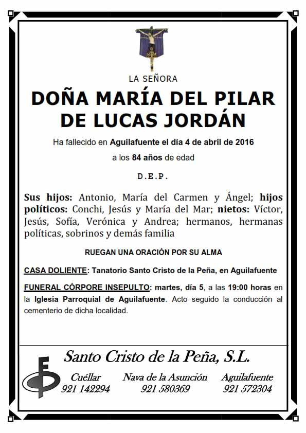 Esquela de María del Pilar de Lucas Jordán