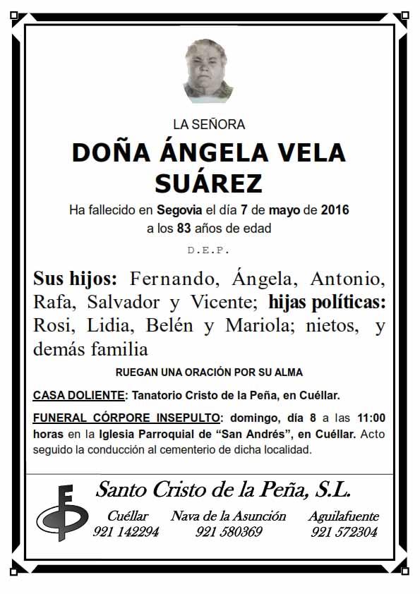 Esquela de Ángela Vela Suárez