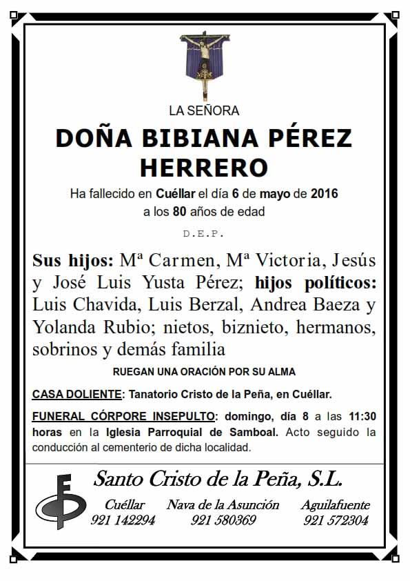 Esquela de Bibiana Pérez Herrero