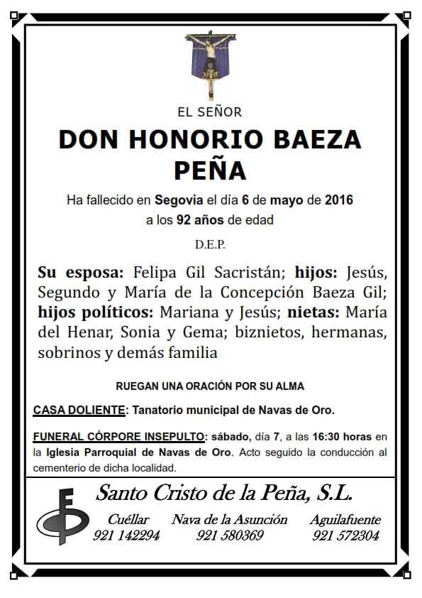 Esquela de Honorio Baeza Peña