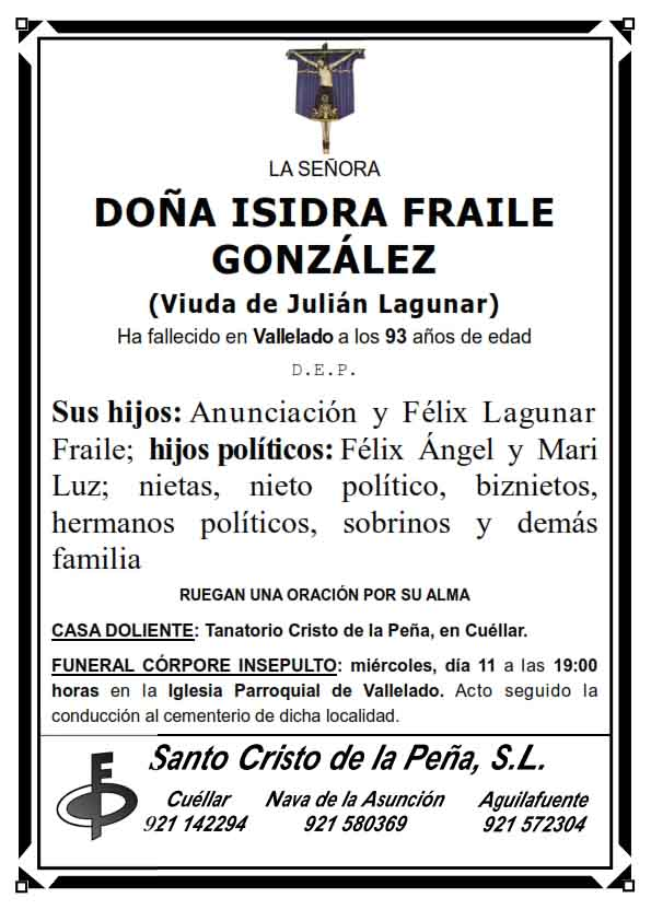 Esquela de Isidra Fraile González