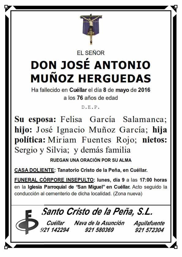 Esquela de Jose Antonio Muñoz Herguedas