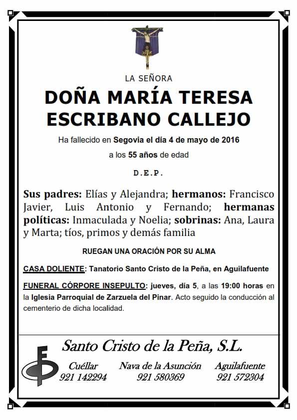 Esquela de Maria Teresa Escribano Callejo