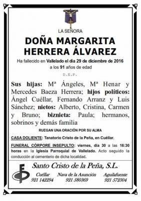 Esquela de Margarita Herrera Álvarez