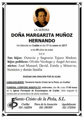 Esquela de Margarita Muñoz Hernando