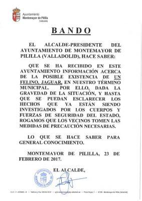Bando emitido hoy por el Ayuntamiento de Montemayor de Pililla.