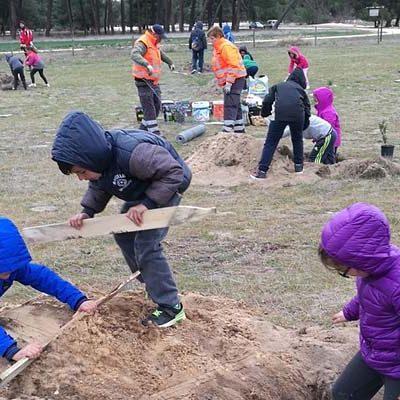 """Los alumnos del CEIP Los Arenales y el IES Hoces del Duratón de Cantalejo """"adoptan"""" un árbol"""