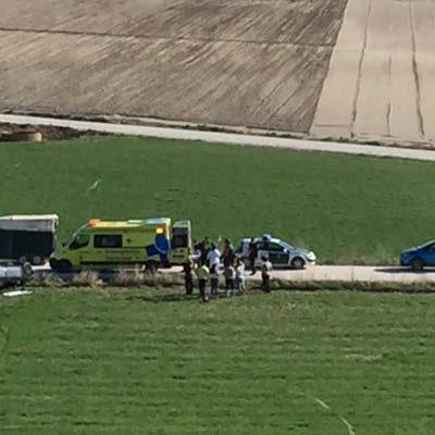 Un herido en el vuelco de un vehículo en el camino que une Cuéllar con Vallelado