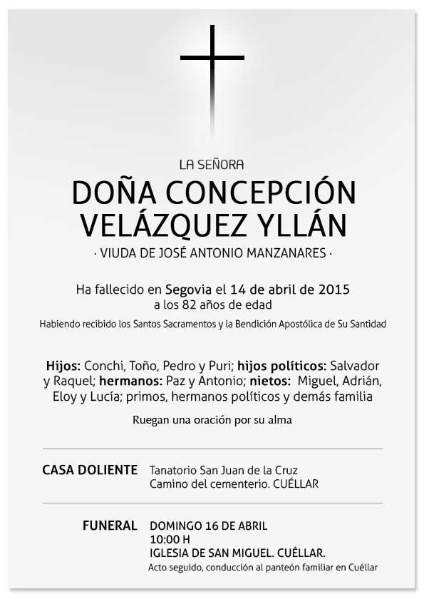 Esquela de Concepción Velázquez Yllán