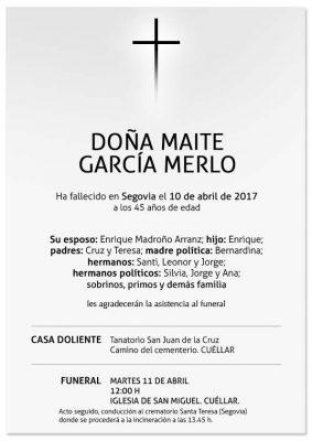 Esquela de Maite García Merlo