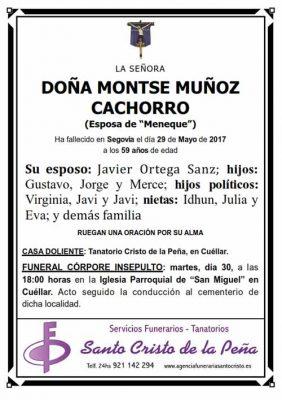 Esquela de Montse Muñoz Cachorro
