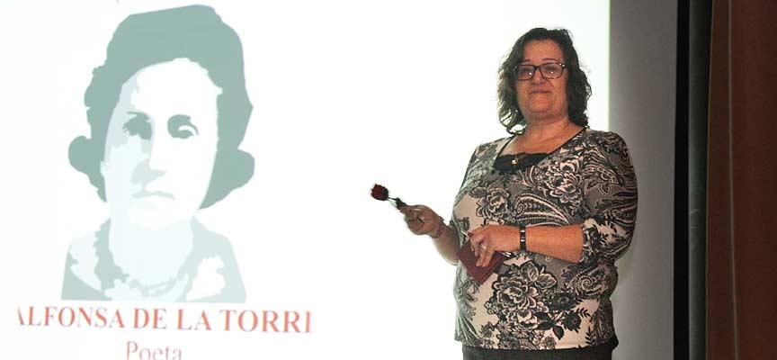 Mª Carmen Gómez, durante la celebración del centenario de Alfonsa de la Torre.