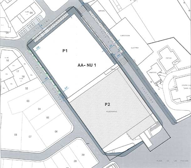 La parcela marcada como P1 es la del antiguo matadero que acogerá el nuevo Centro de Salud de Cuéllar
