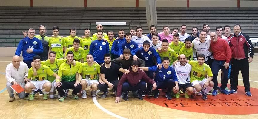 Algunos de los participantes en el Torneo Benéfico de fútbol sala organizado por el Racing Cuéllar.