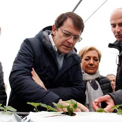 Fernández Mañueco subraya la apuesta del PP por los agricultores y ganaderos de la región en su visita a Chañe