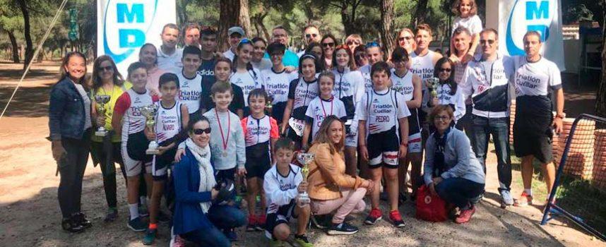 Los atletas del Triatlón Cuéllar lograron siete podios en el XIX Duatlón de promoción y menores Pinar de Antequera