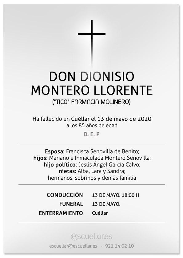Esquela de Dionisio Montero Llorente