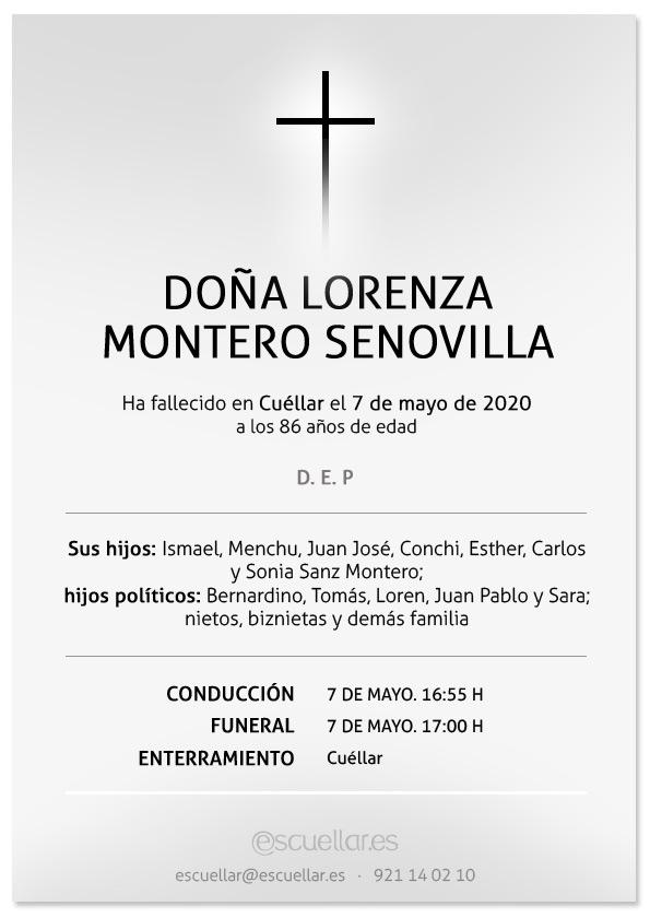 Esquela de Lorenza Montero Senovilla