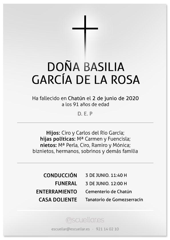 Esquela de Basilia García de la Rosa