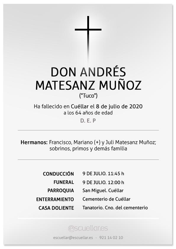 Esquela de Andrés Matesanz Muñoz