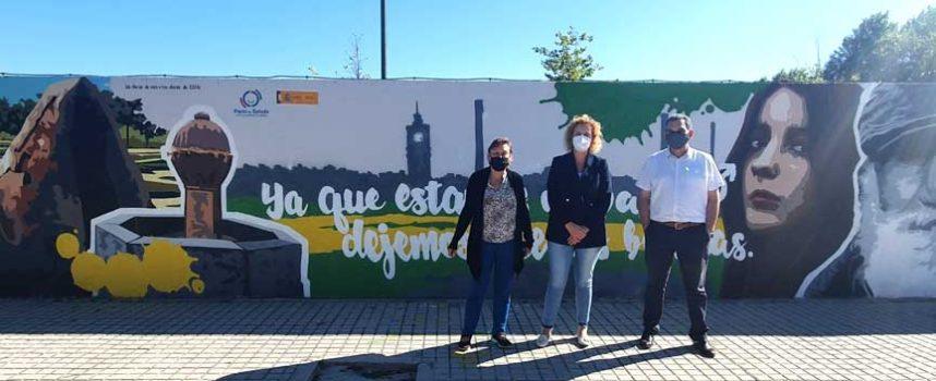 Los jóvenes de Navas de Oro crean un mural contra la violencia de género